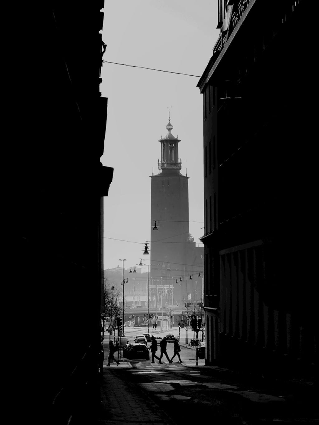 Poster: Stockholm - A beautiful black and white print of the city hall on Kungsholmen in Stockh...