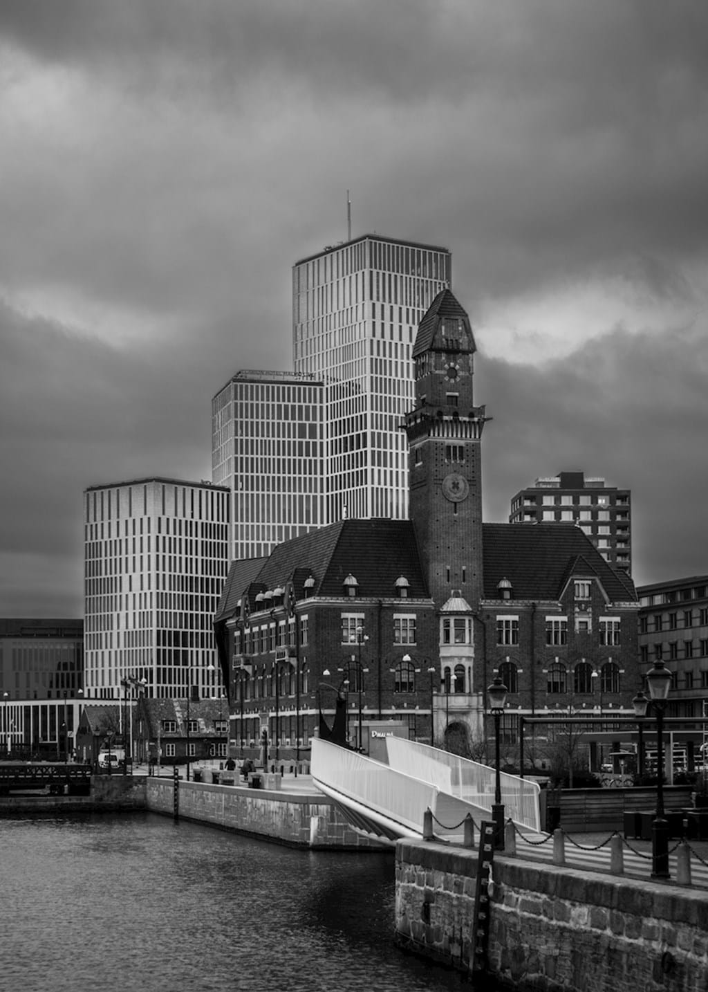Poster: Old vs New - This is a wonderful picture in black and white of old and new buildings in ...