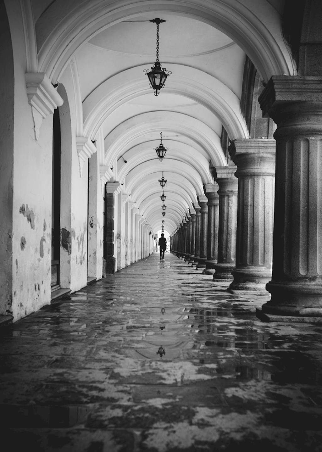Poster: Path to walk - An amazing photo print, taken in Antigua, Guatemala. A person walking throu...