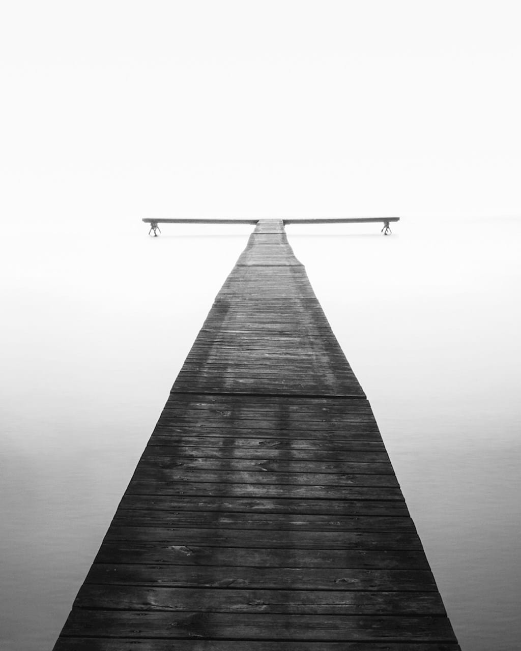 Poster: Crossroads - A black and white minimalistic photo art print that really makes you look. ...
