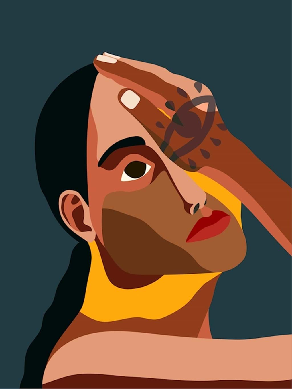 Poster: Woman with Eye I - Moody - Illustration