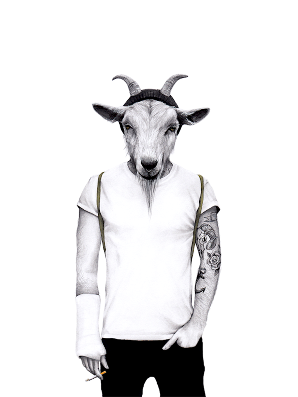 Poster: Hipster goat - Kids Posters
