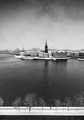 Snow Covered Stockholm BW
