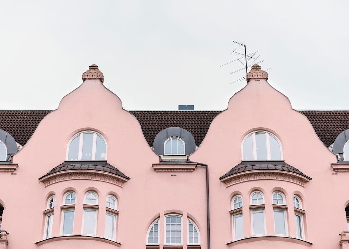 Pink house posters & prints by Sanna Dolck Wall