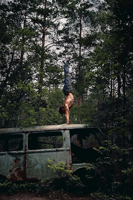 Forest handstand on a bus