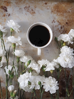 Coffee with carnations