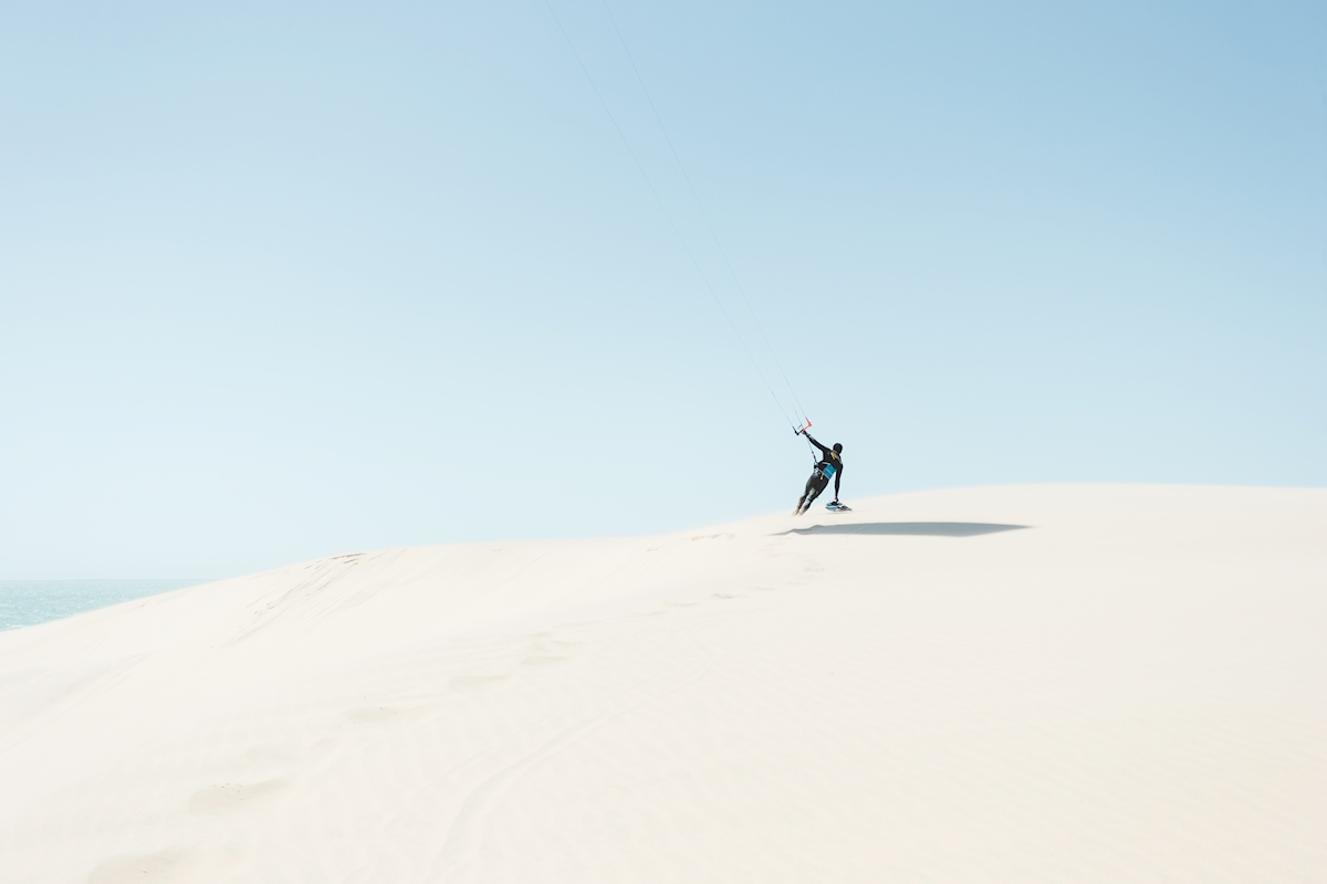Kitesurfer on the sand dune posters & prints by Felix Moström