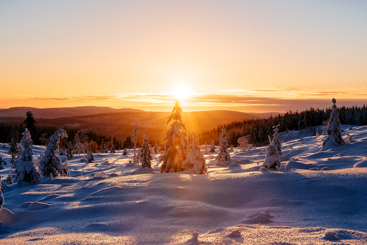 Sunset over winter landscape posters & prints by Carl-Johan Rådström