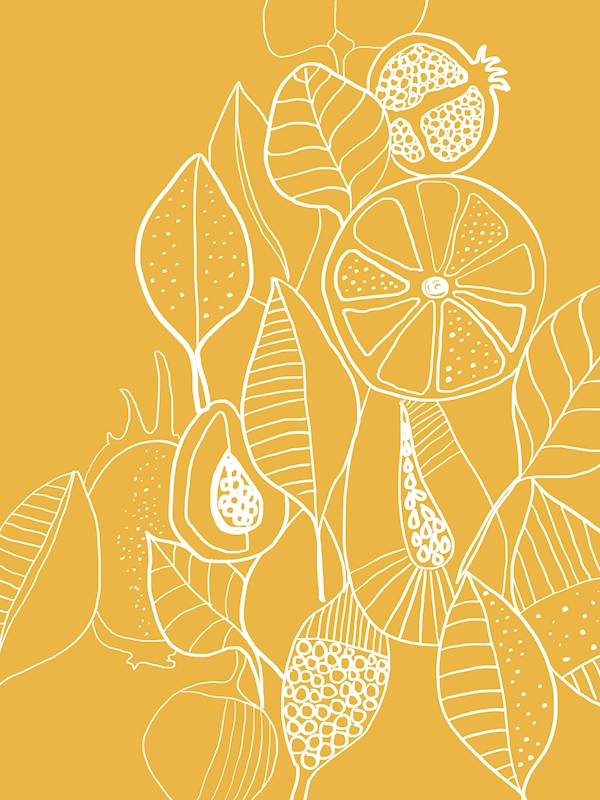 Leaf & Fruit Yellow posters & prints by Visual Aspect
