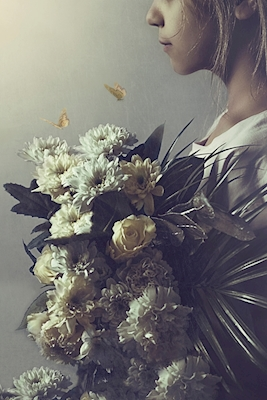 The girl with the bouquet