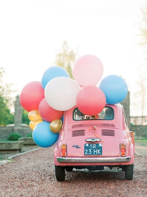 Funny Pink Classic Car Balloon